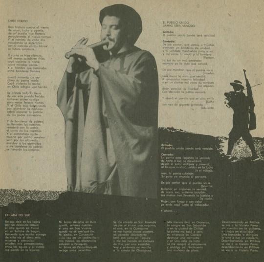 interno di copertina de La nueva canción chilena (messico)